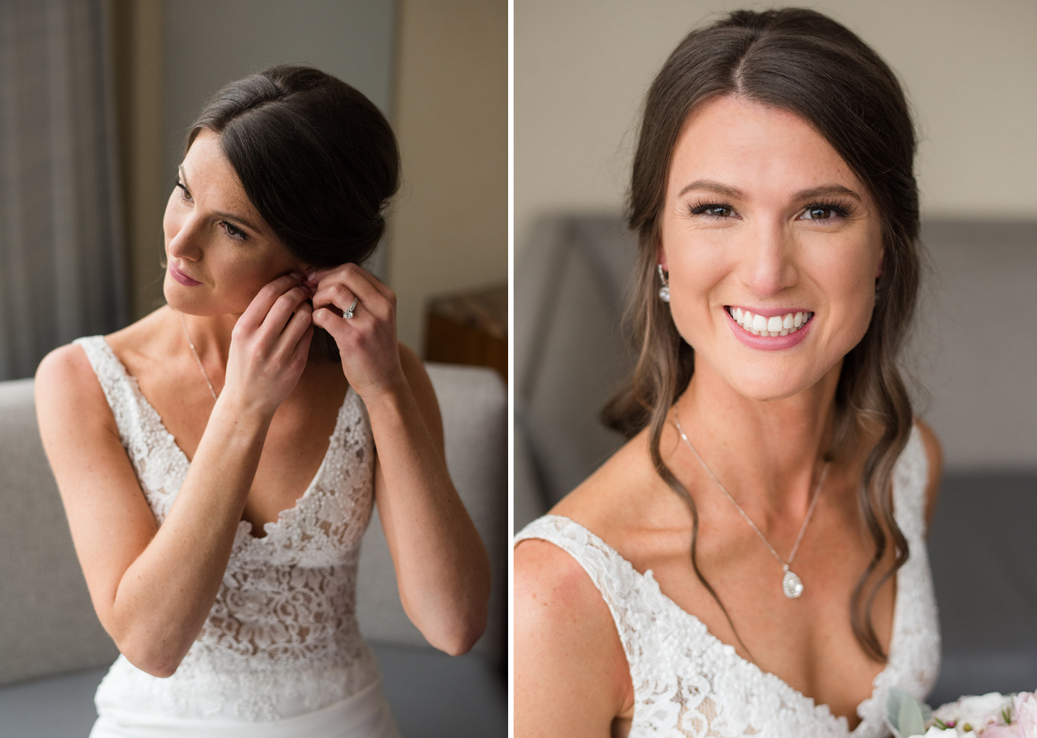 bride smiling and putting on her wedding earrings
