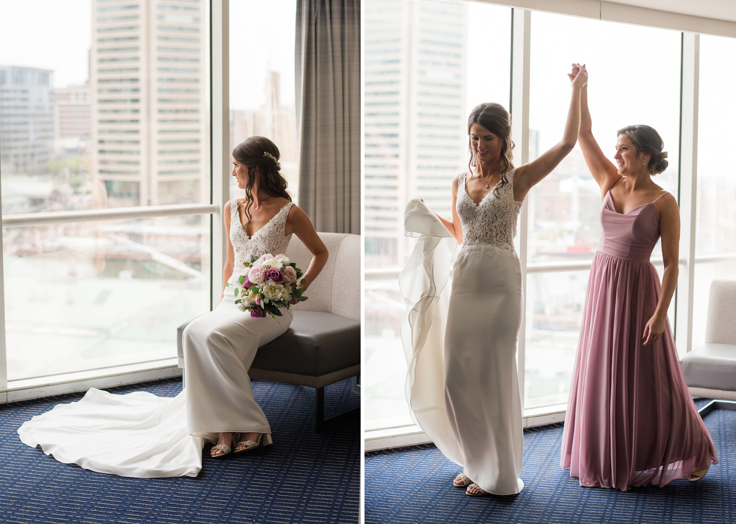 bride looking out the window at the city skyline and bride and bridesmaid sharing a high five