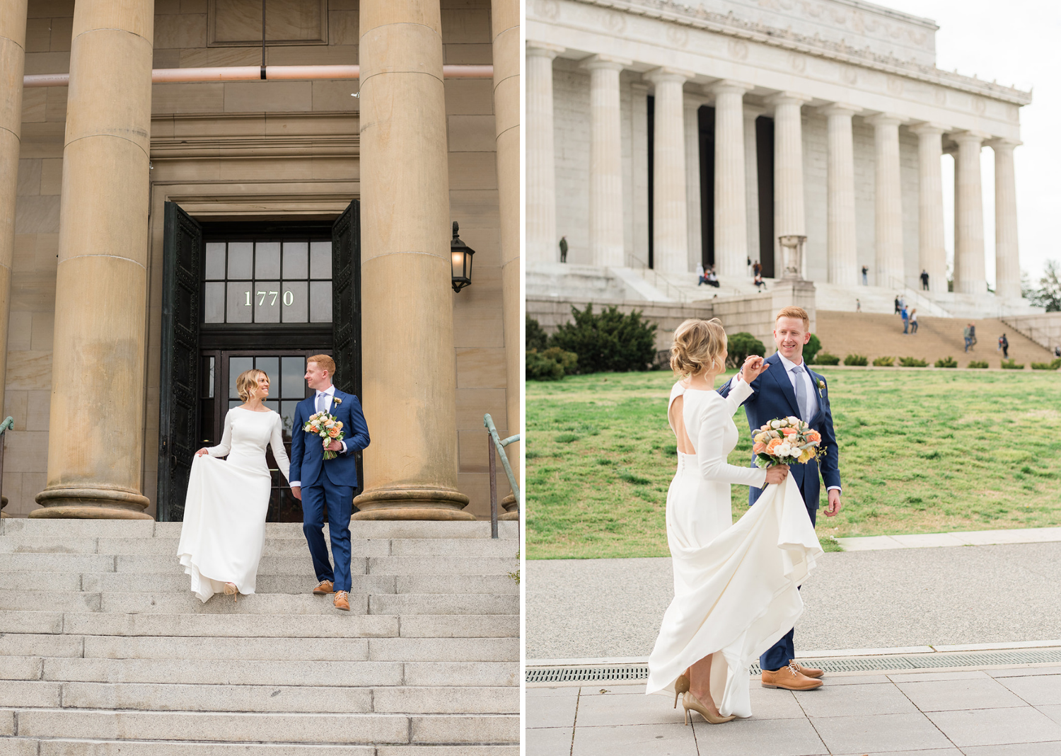 bride and groom going on a walk in washington d.c before their wedding ceremony