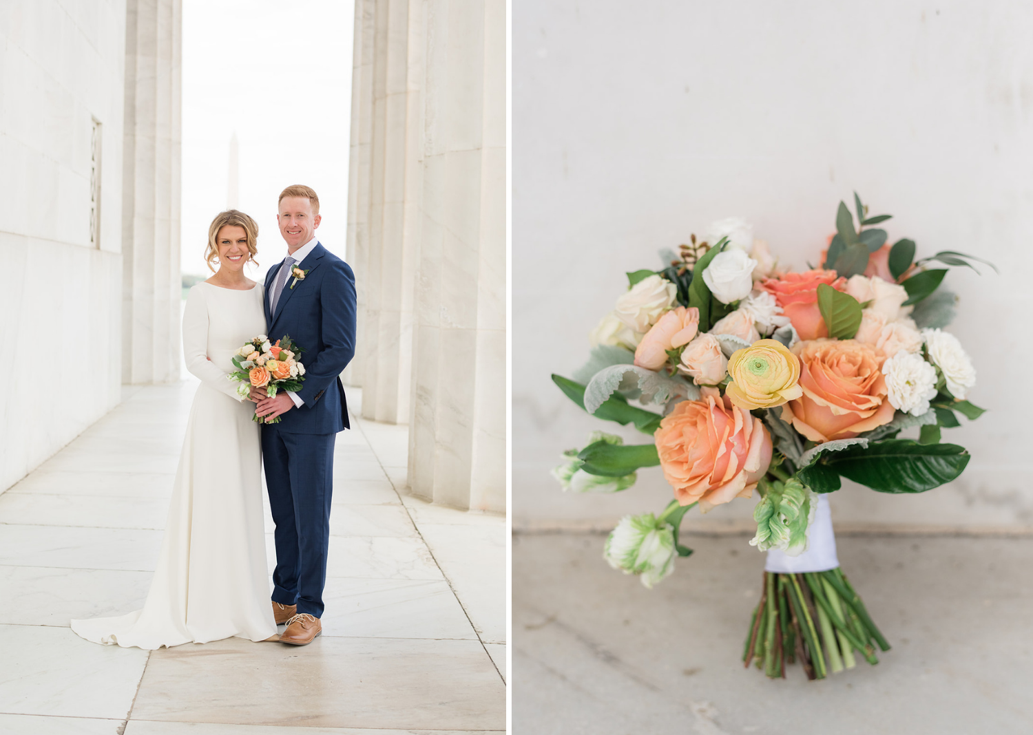 bride and groom posing inside the lincoln memorial along with a shot of the bride's bouquets