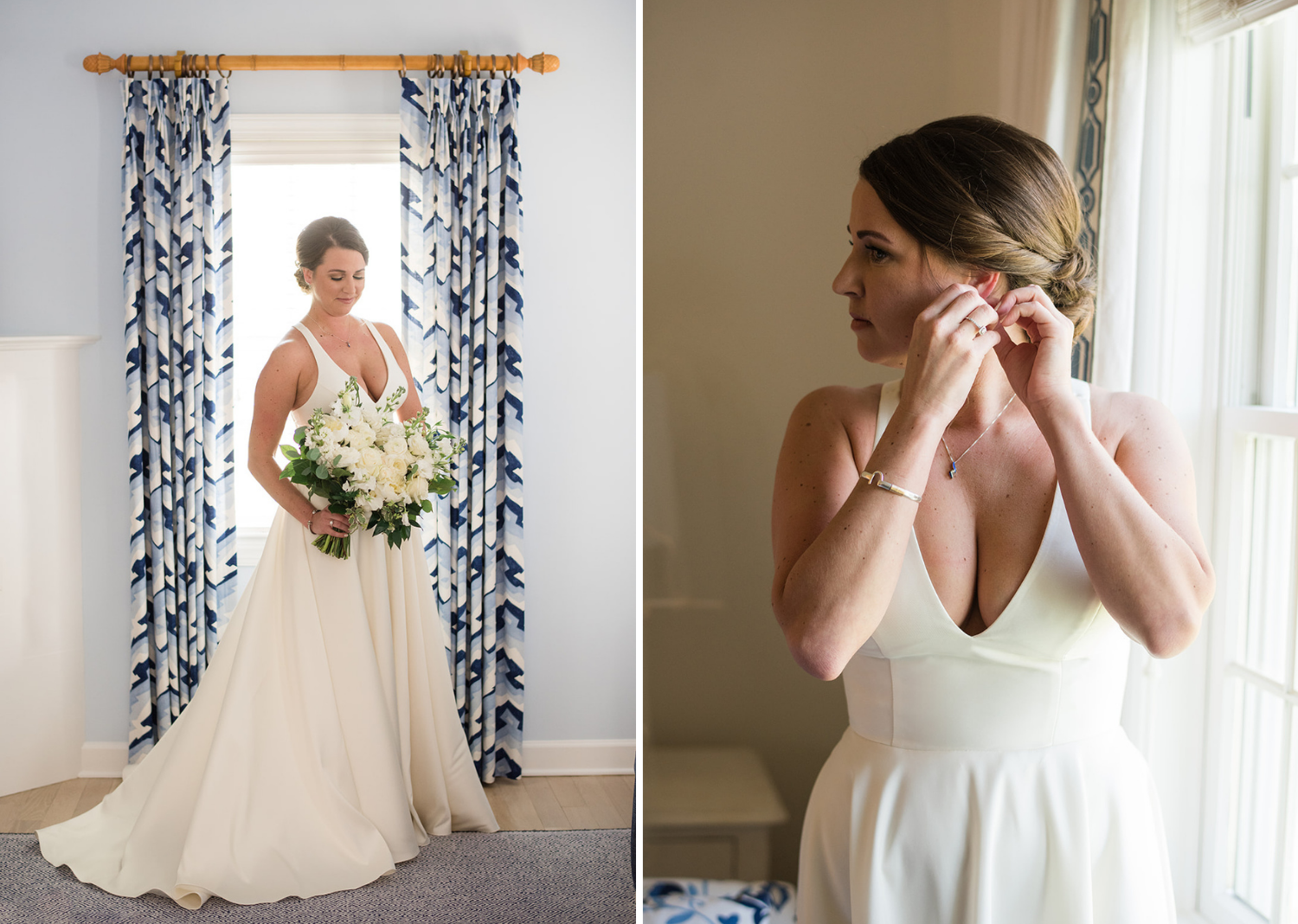 bride finishes putting on her wedding day earrings as she poses with her wedding dress