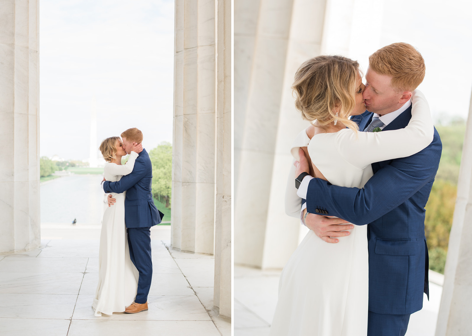bride and groom share a kiss in the lincoln memorial