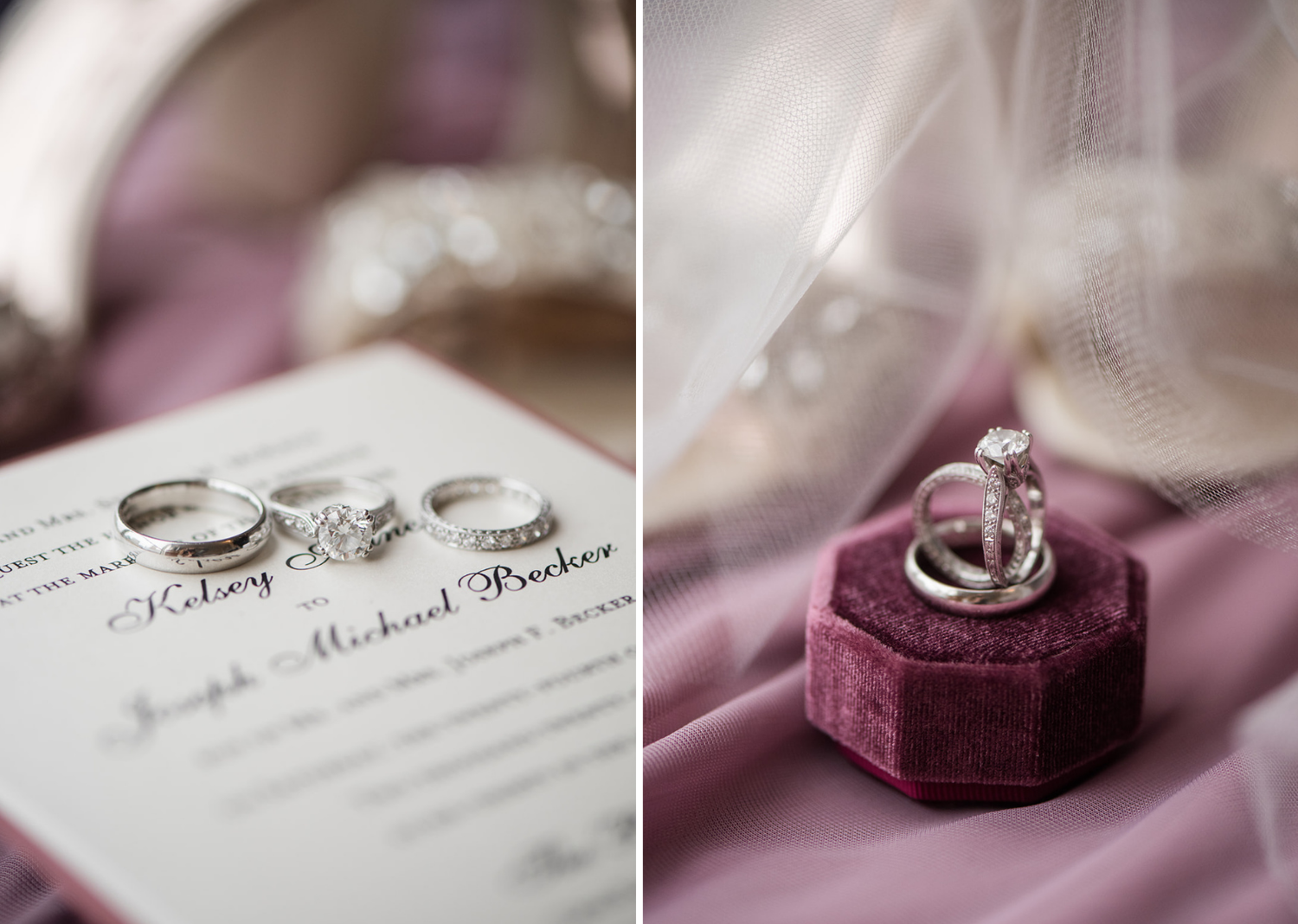 wedding ring box and wedding rings photographed on top of wedding invites