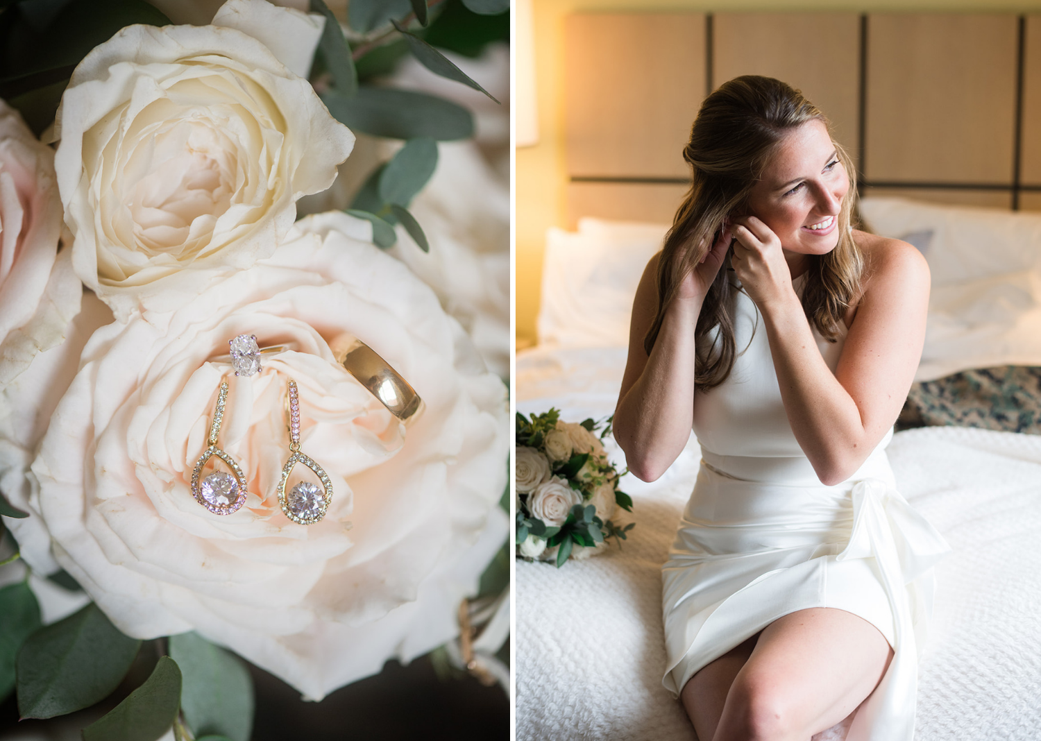 a close up photo of the bride's earrings on a white rose and a photo of the bride putting on her earrings