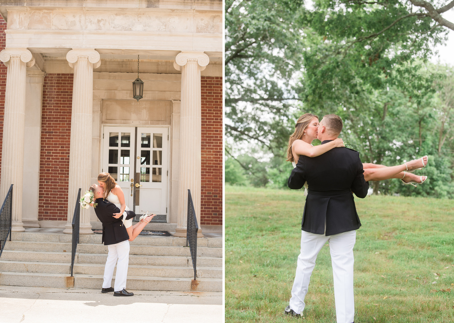 groom picks up his bride and they share a kiss
