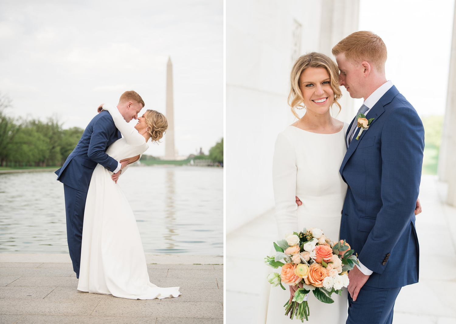 bride and groom in front of the Washington monument