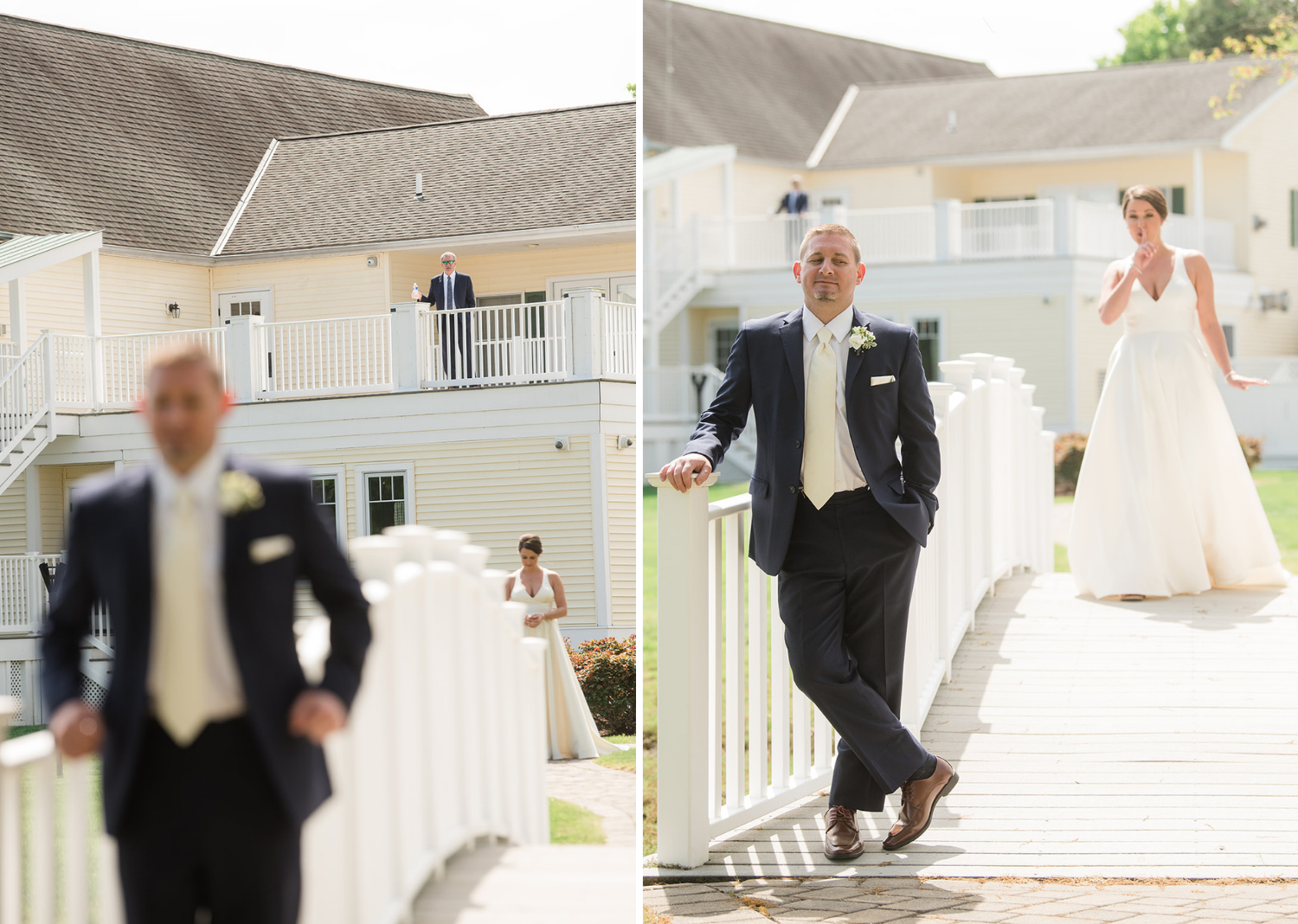 groom smiles as his bride stands behind him getting ready to have their first look