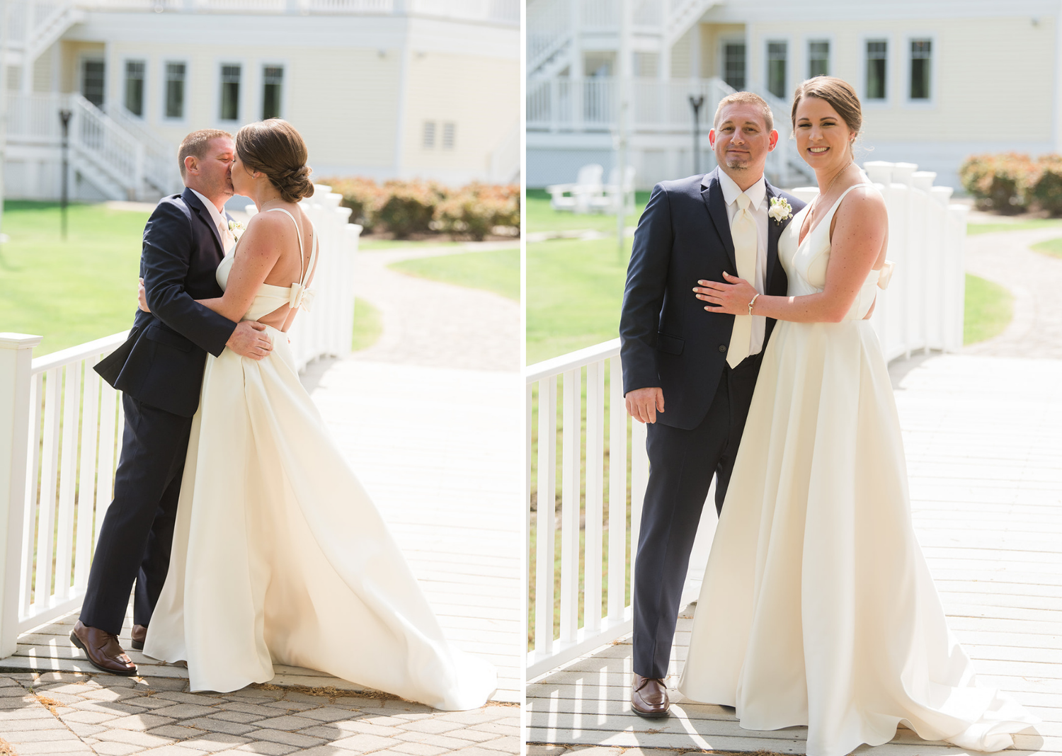 bride and groom share a kiss and a smile before their wedding
