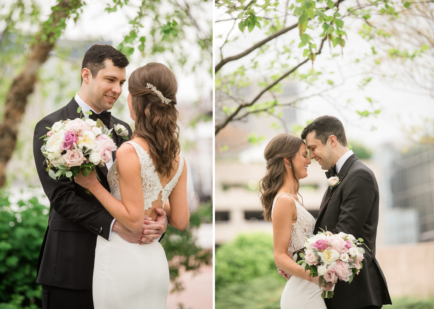 bride and groom romantically look at eachother as they stand in a park in Baltimore