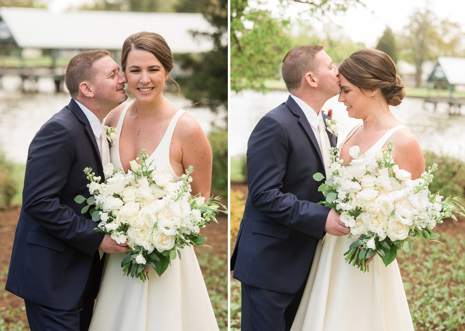 bride and groom smile for their wedding portraits