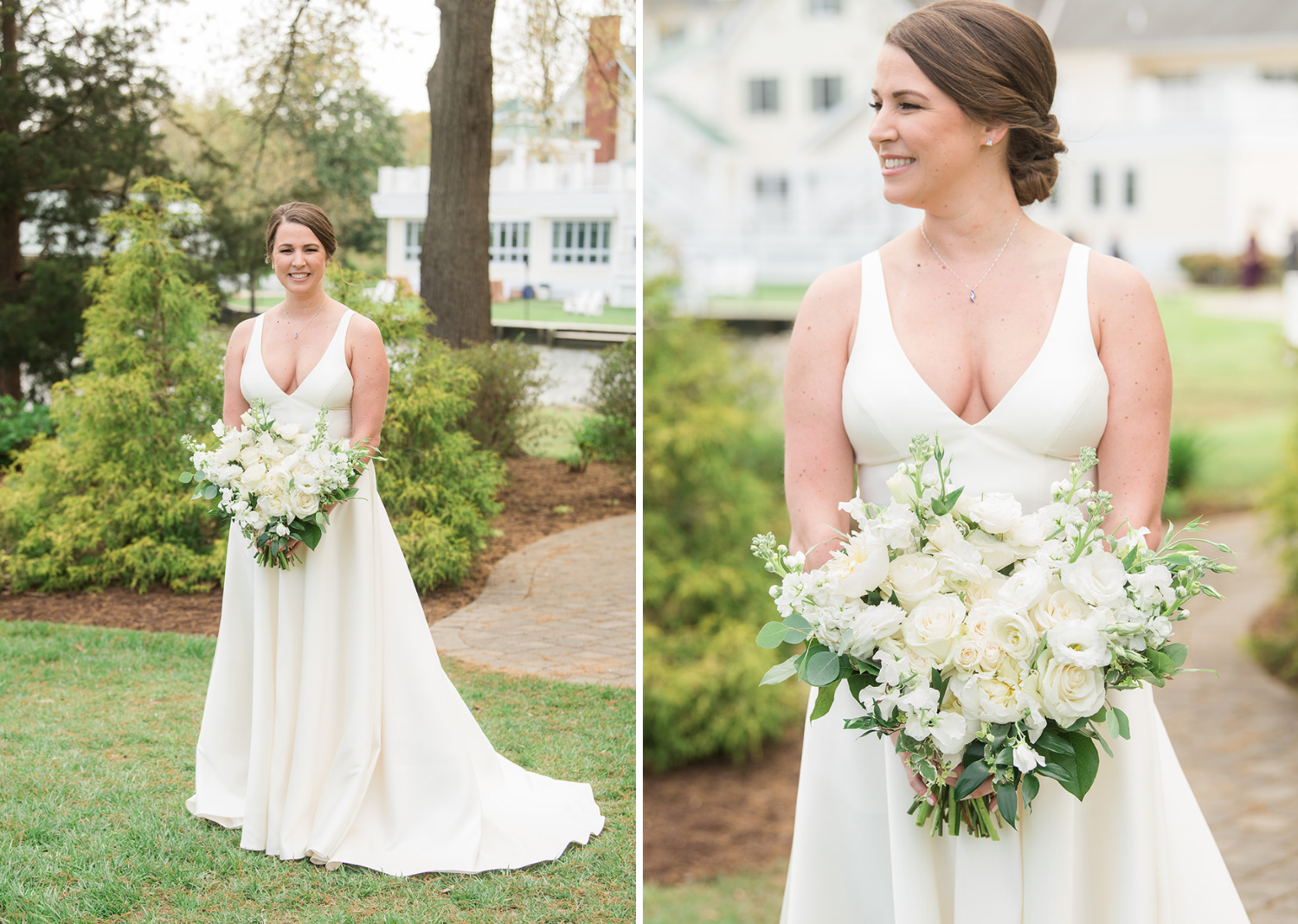 bride smiles as she poses with her white wedding dress and beautiful white and green bridal bouquet