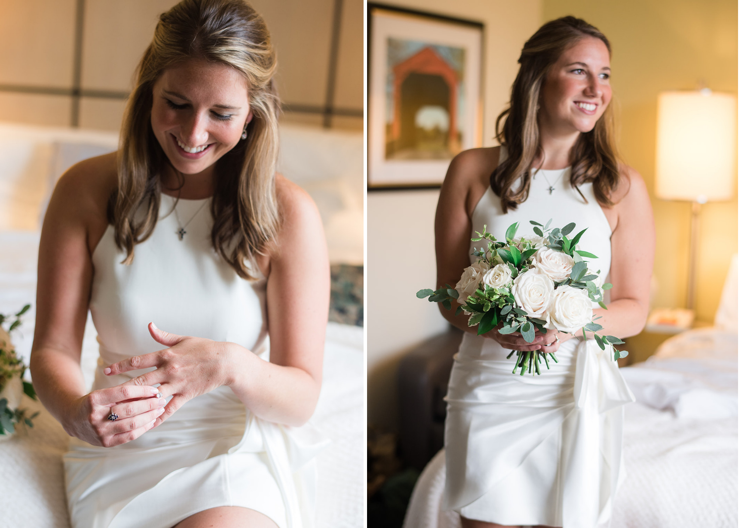 bride putting on her wedding ring and bride smiling as she holds her wedding bouquet