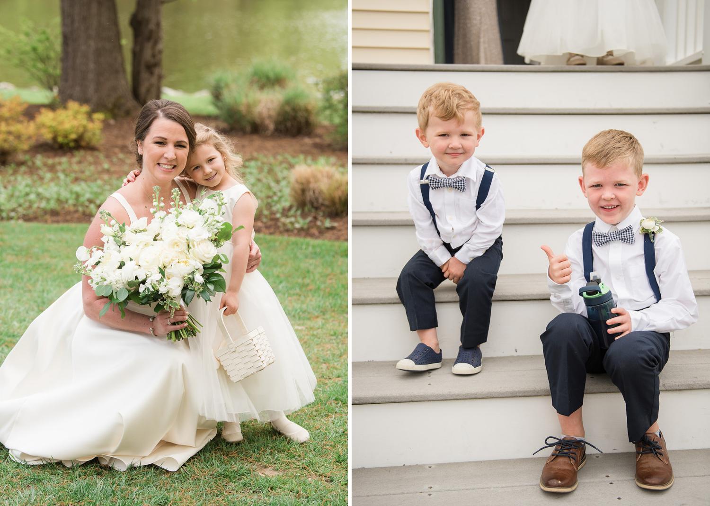 bride with her flower girl and her baby groomsmen