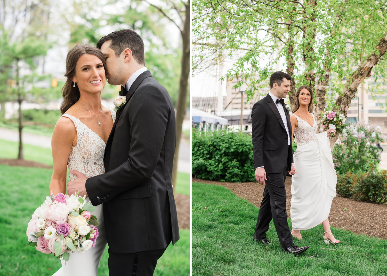 bride and groom share intimate moments between them before their wedding ceremony