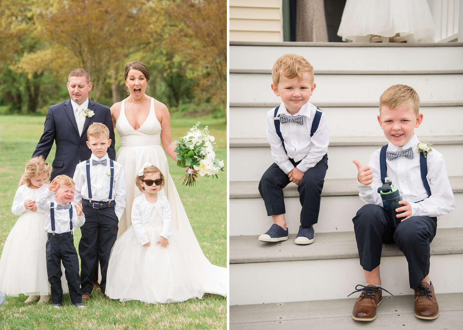 bride and groom smile with their flower girls and baby groomsmen