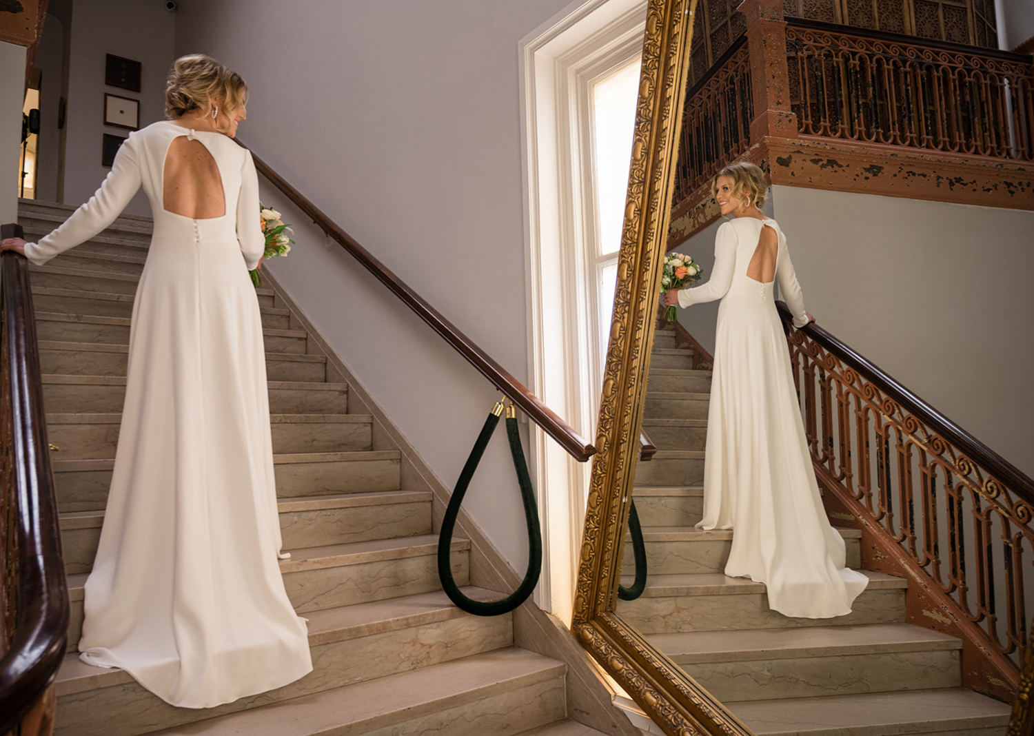 bride smiling as she looks at herself in the mirror