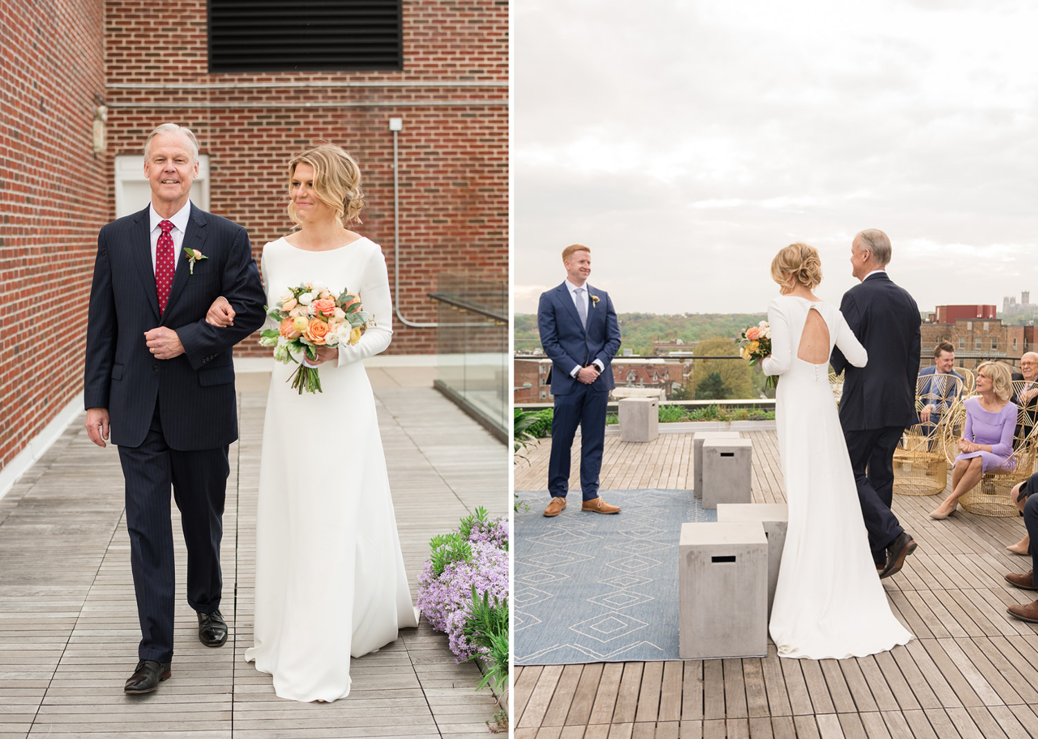 bride walking down the aisle with her father on the rooftop of the line hotel in Washington