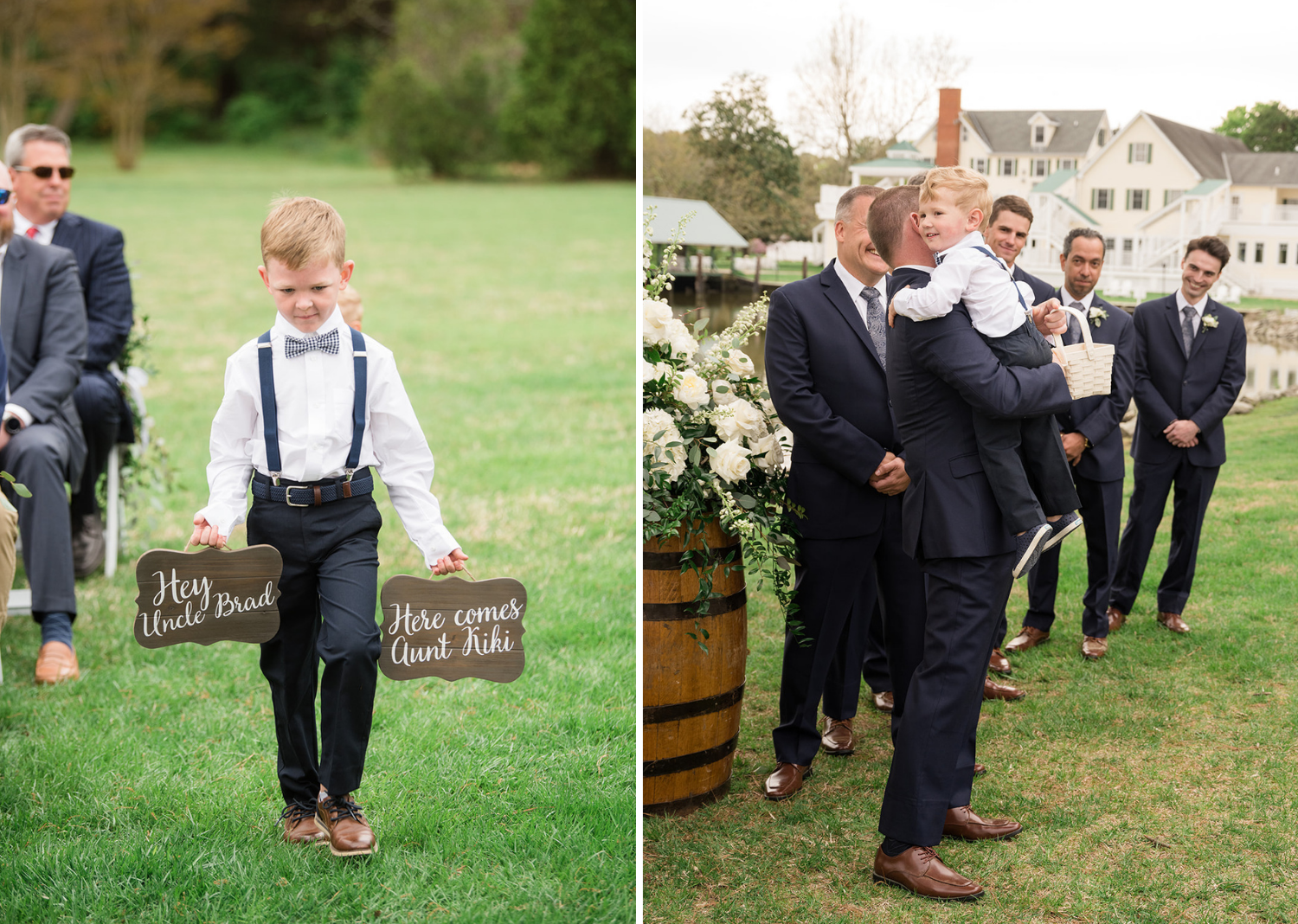 """baby groomsmen walks down the aisle holding a sign """"here comes aunt kiki"""""""