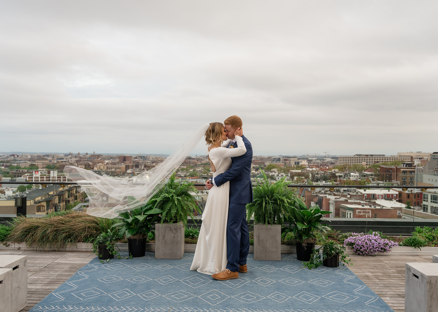 bride and groom on the rooftop of the Line Hotel in Washington D.C