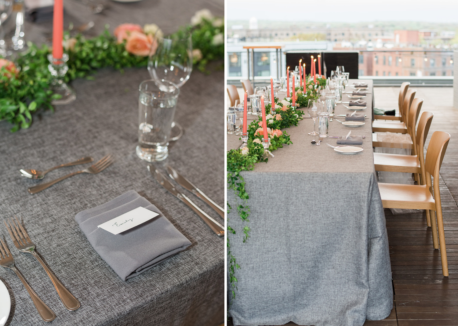 grey tablecloths along with an array of green and orange foliage covers a wedding table as their main centerpiece