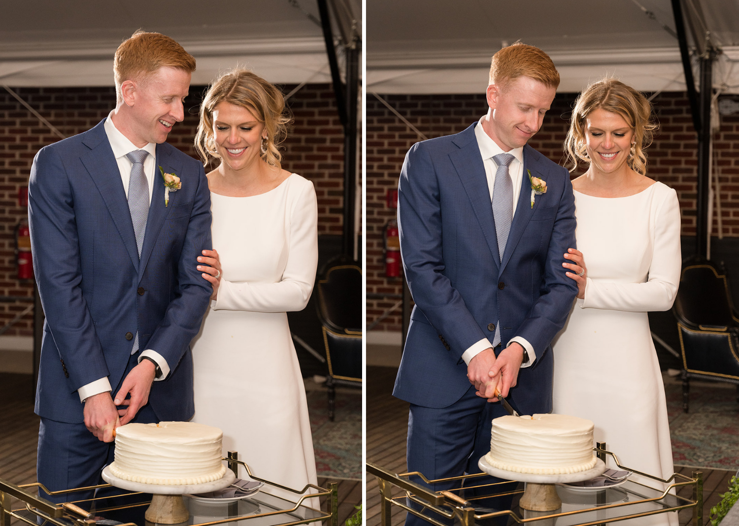 bride and groom cut the cake to celebrate their wedding at the Line Hotel in Washington D.C