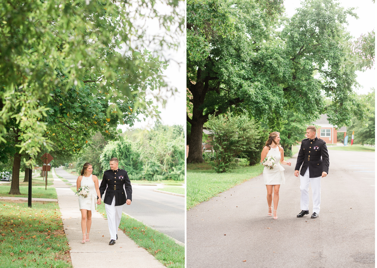 bride and groom strolling the streets before their elopement