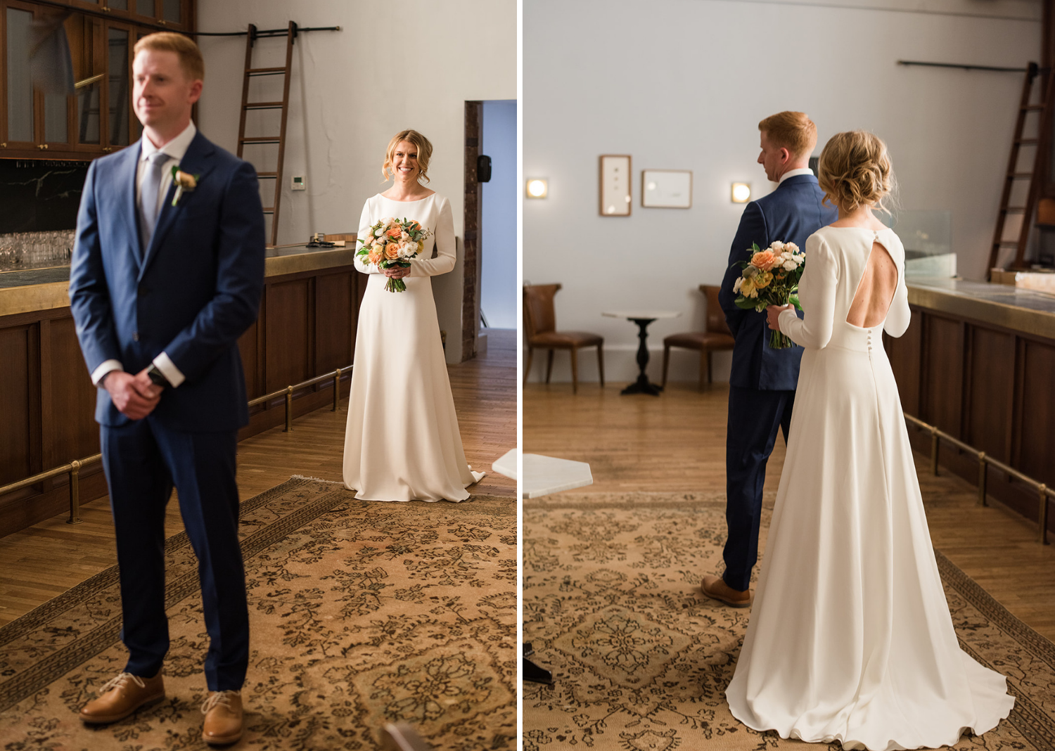 bride and groom for their first look before their wedding