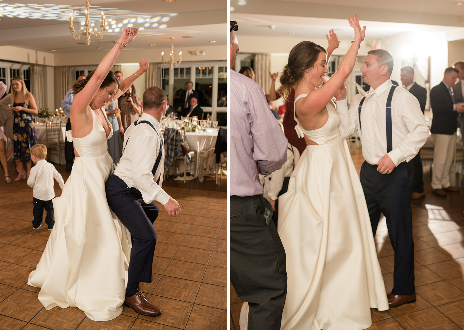 bride and groom dancing with their wedding guest during their wedding reception