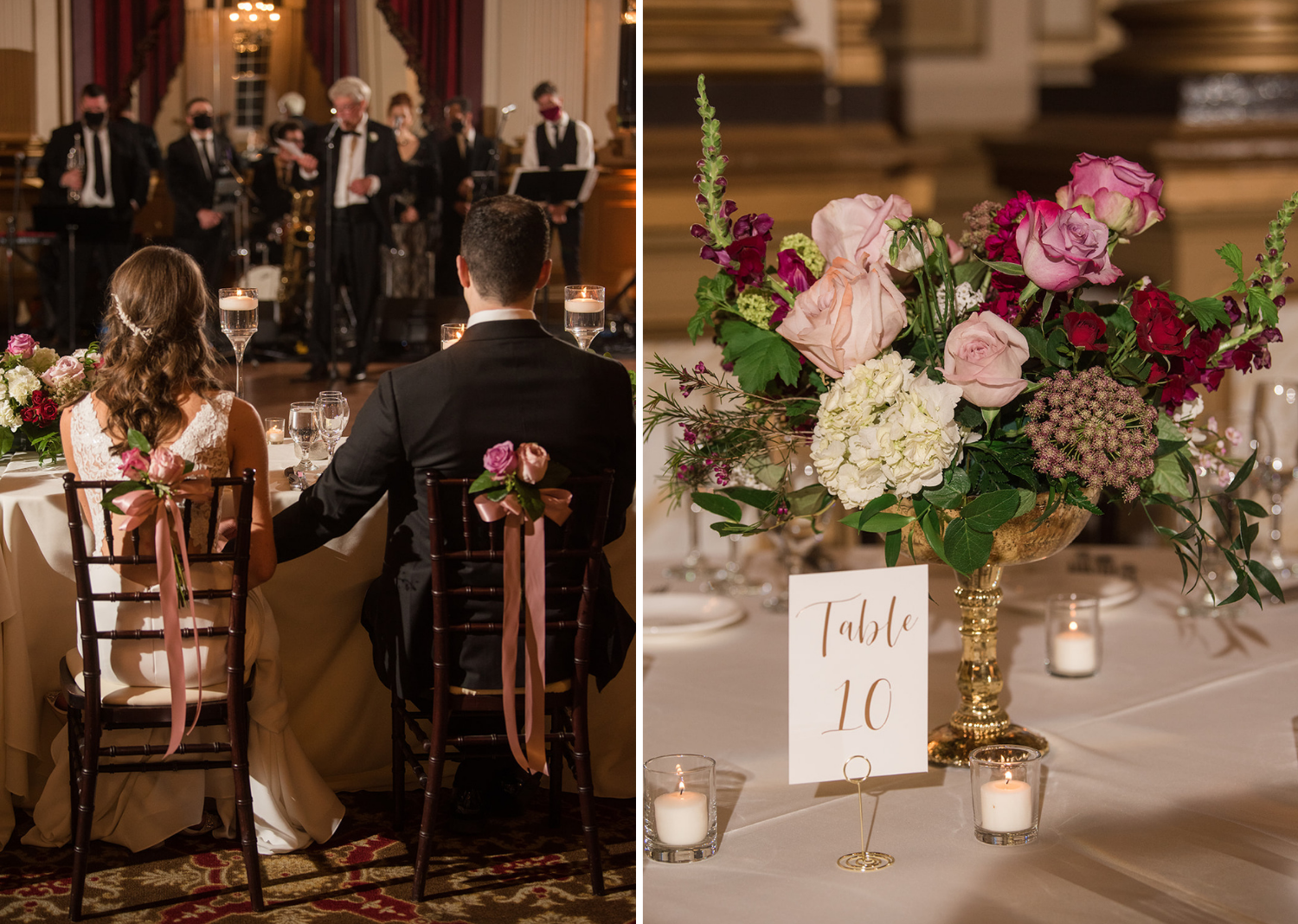 bride and groom at their wedding reception along with wedding reception table decorations