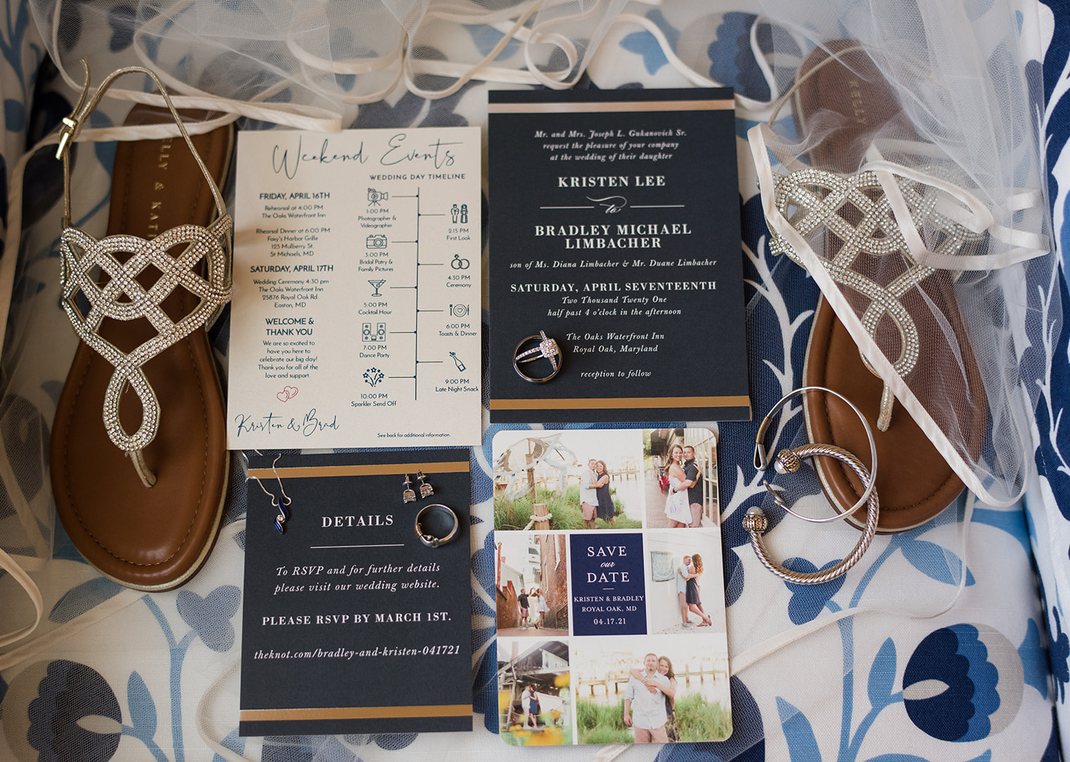 wedding invitation along with the bride's accessories on a flat lay
