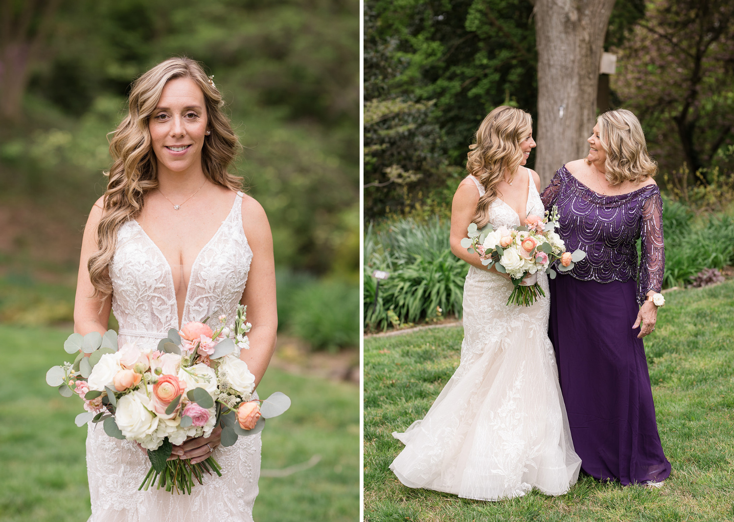 outdoor bridal portraits of the bride and the bride with her mom