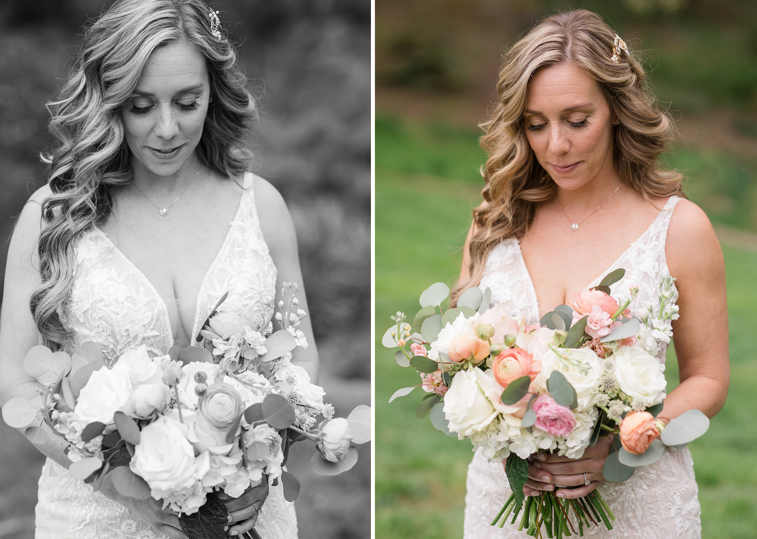 outdoor bridal portraits of the bride with her bouquet