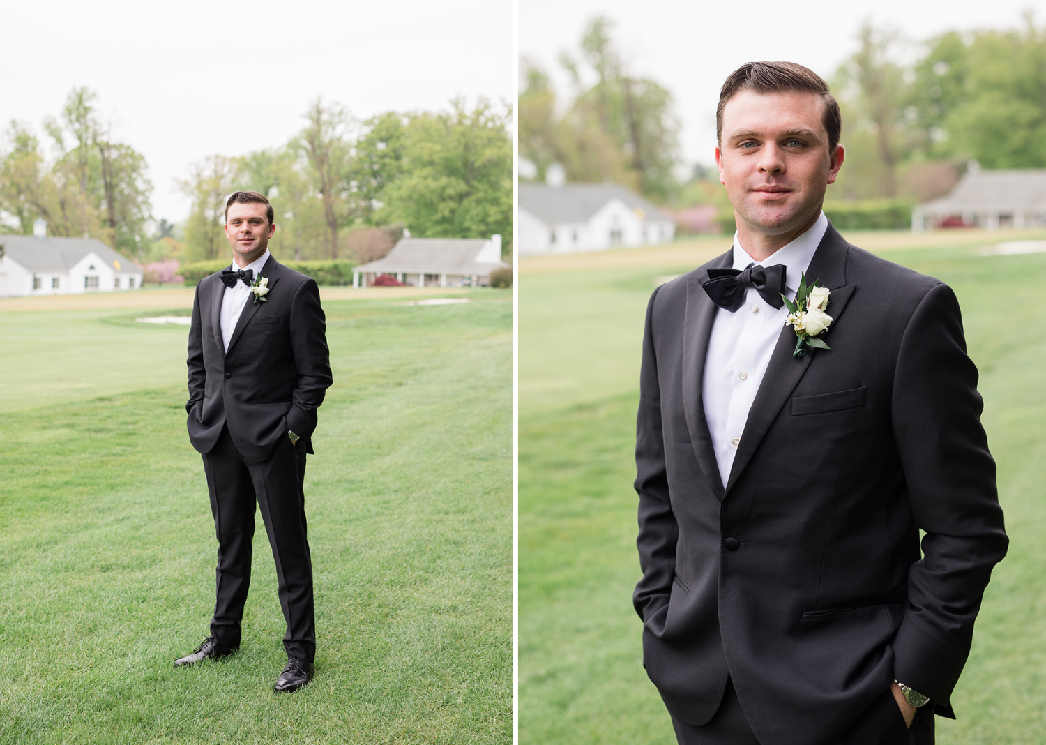 groom standing outside waiting for his bride