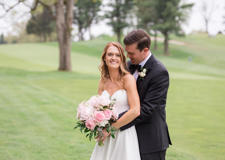 bride and groom outdoor wedding day portraits
