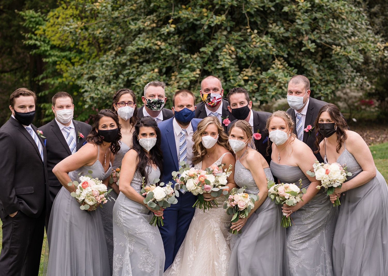 bridal party wearing face masks