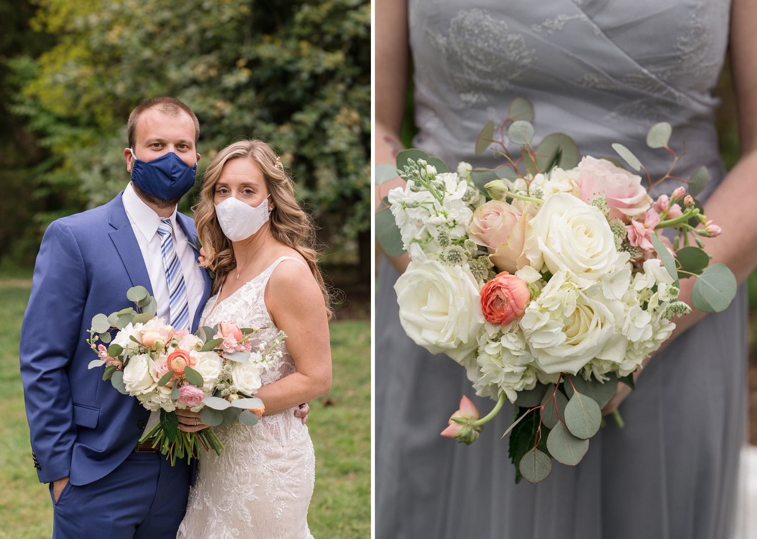bride and groom wearing face masks and a close up shot of the bridal bouquet