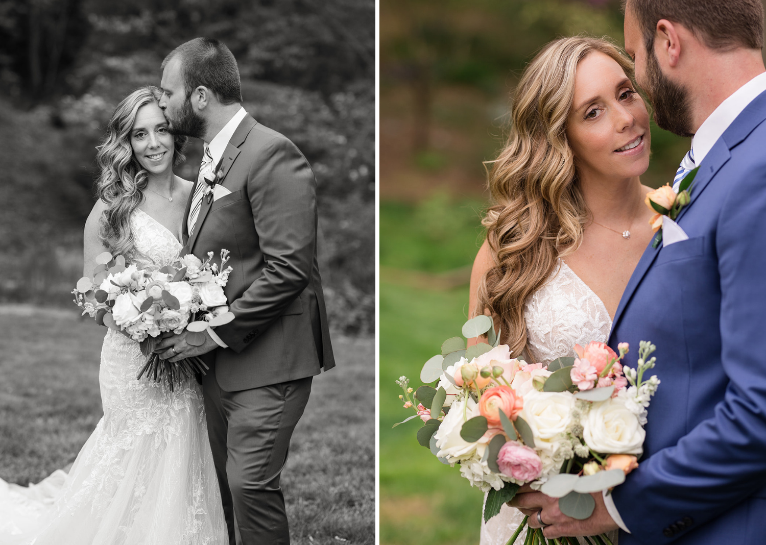 outdoor wedding portraits of the bride and groom