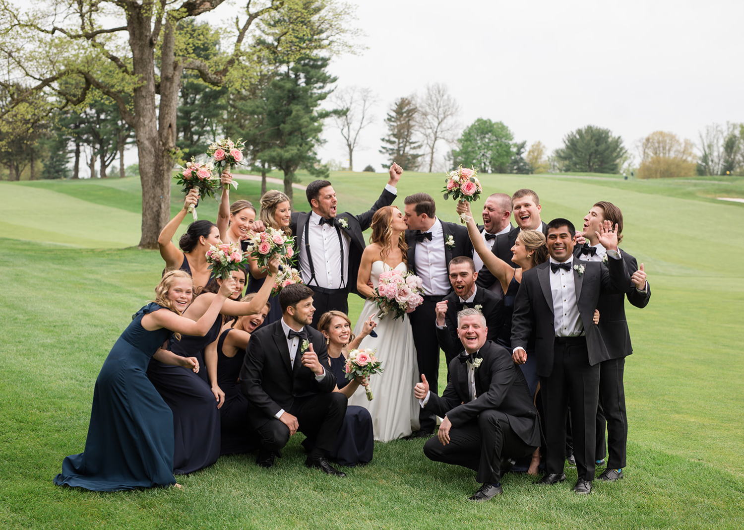 bride and groom with their bridal party