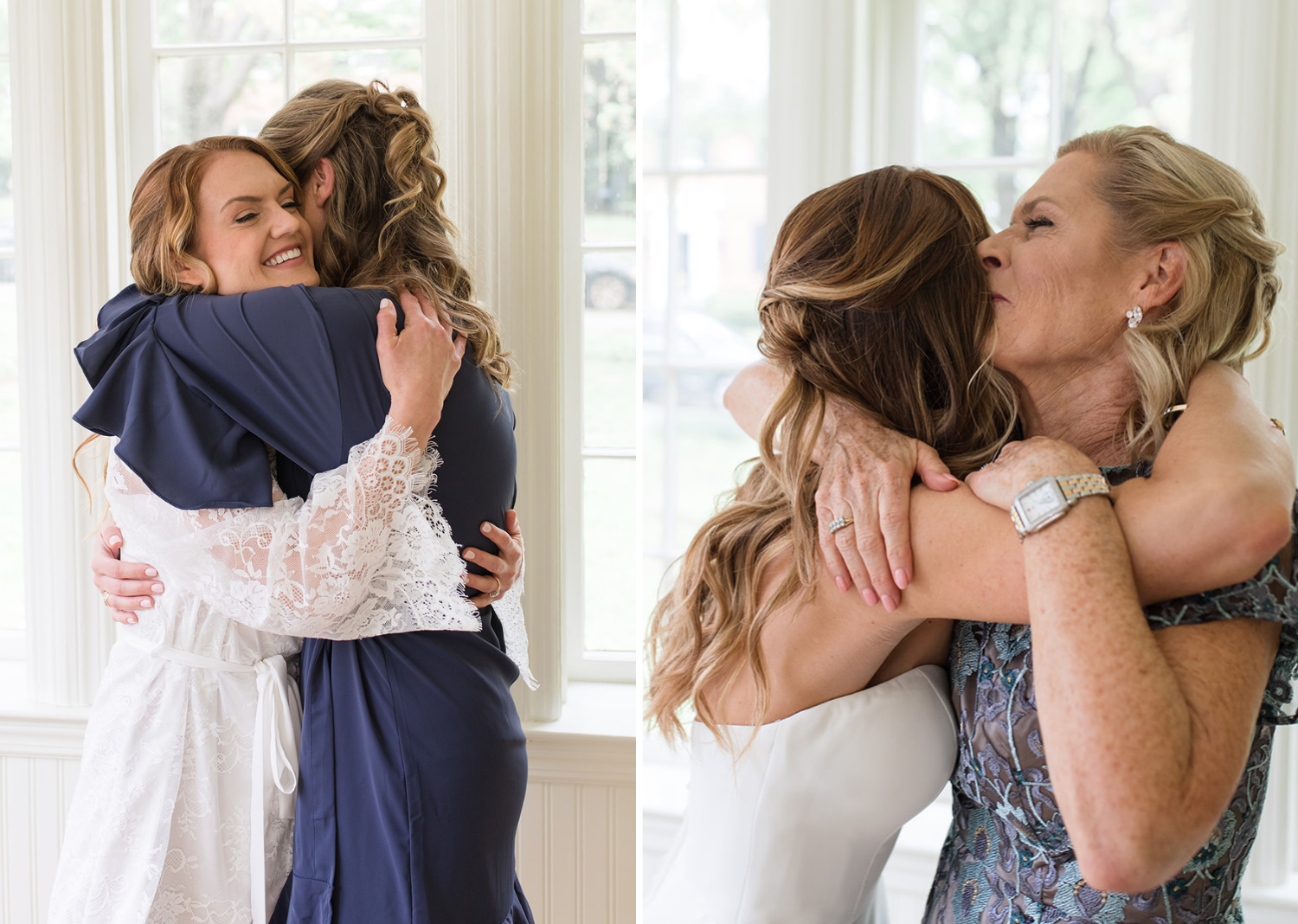 bridesmaid and mother of the bride giving the bride a hug
