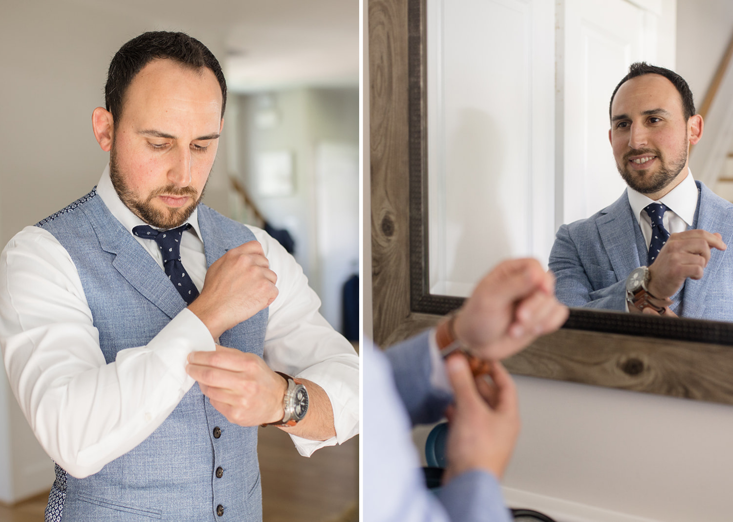 groom fixing his cuff links and looking at himself in the mirror
