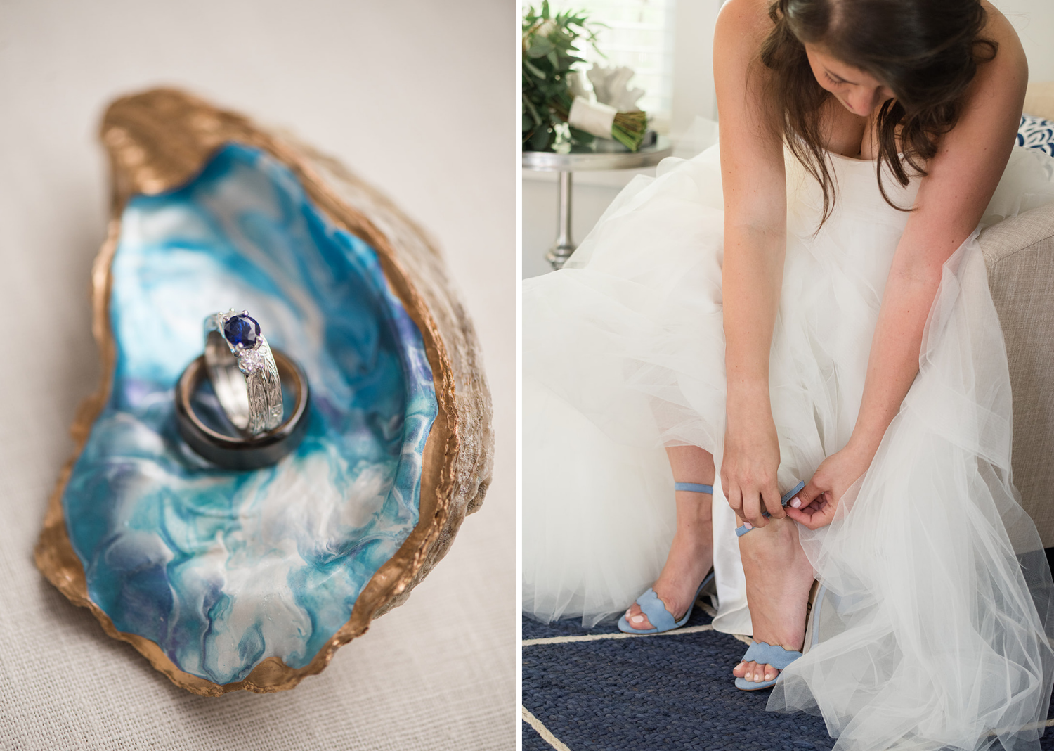 bride putting on her wedding shoes and wedding details