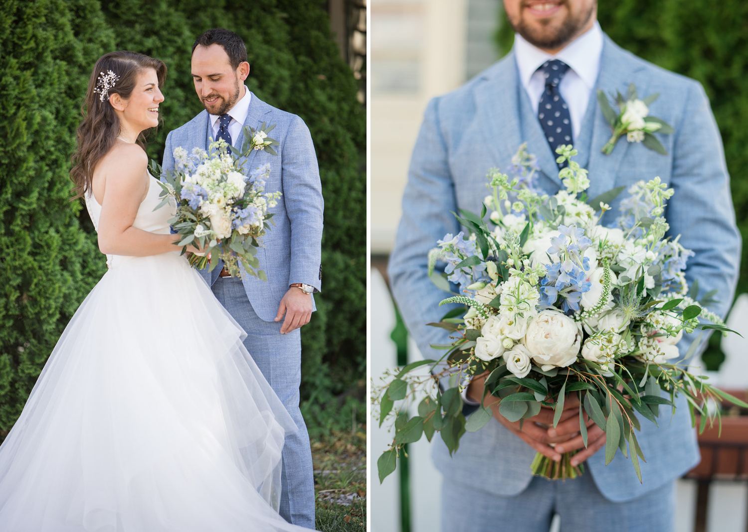 bride and groom outdoor portraits with bridal bouquet