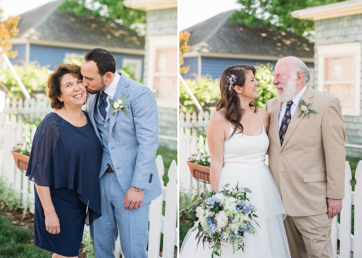 bride shares a hug with her dad and groom kisses his mom on the cheek