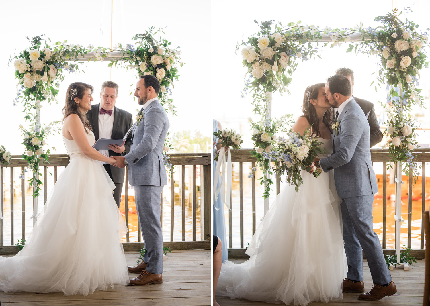 bride and groom hold hands and share their first kiss and husband and wife