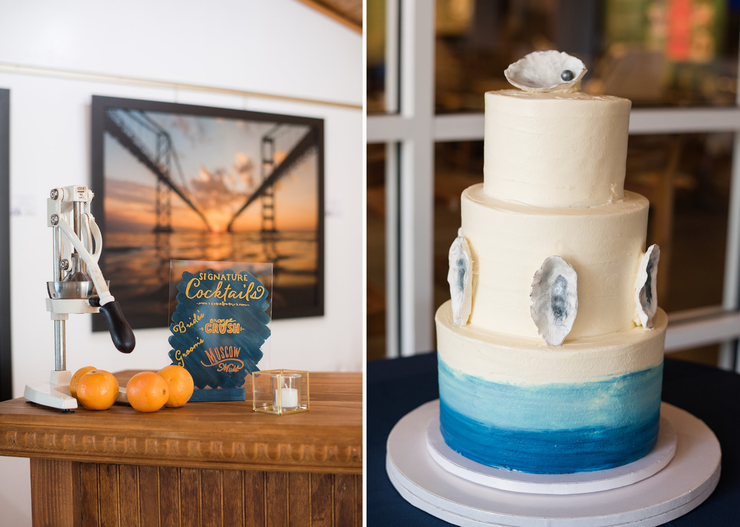 wedding cake and wedding day cocktails