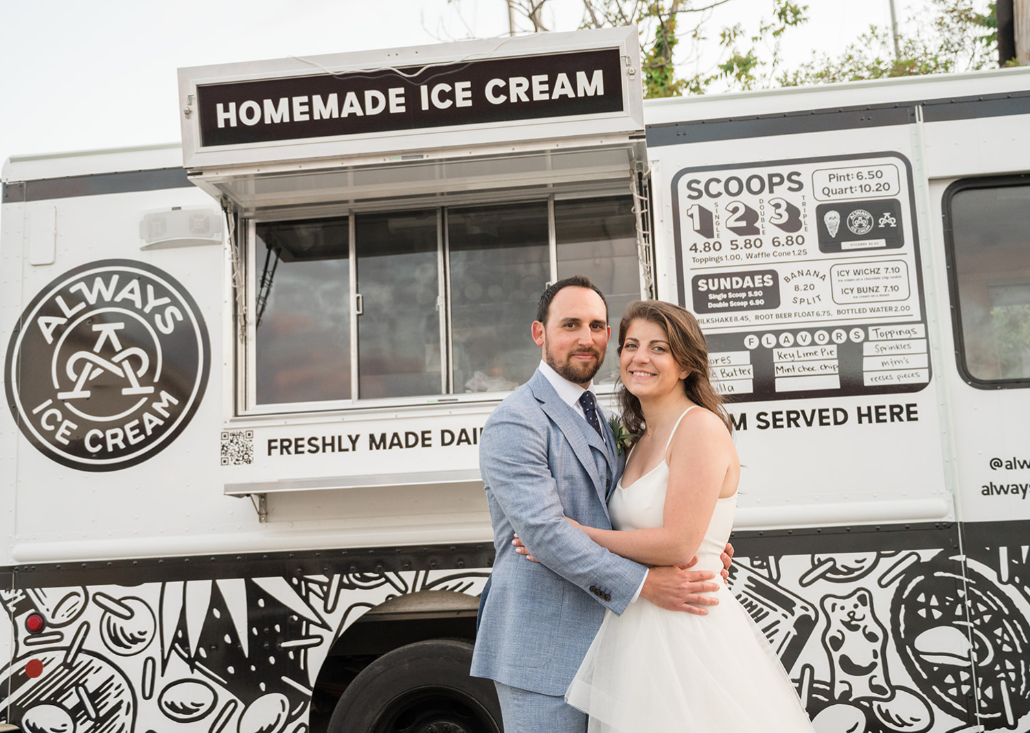 bride and groom in front of an icecream truck!
