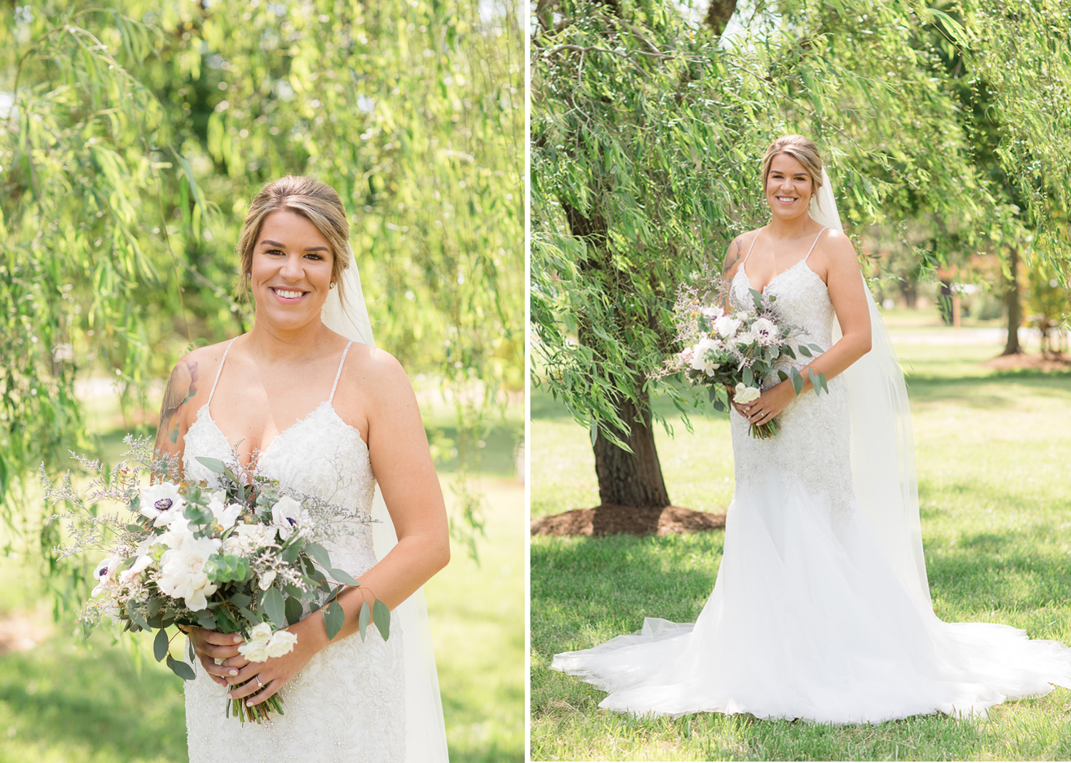 outdoor bridal portraits with the bride in her wedding dress and bouquet