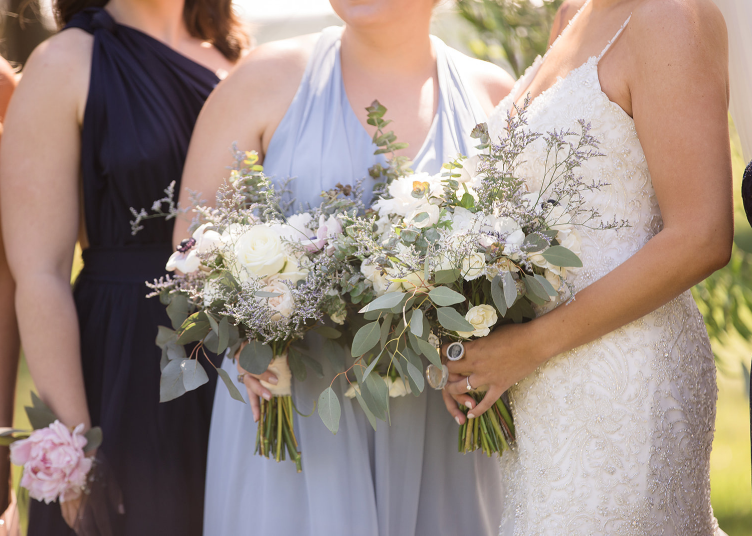 close up shot of the bridal party bouquets