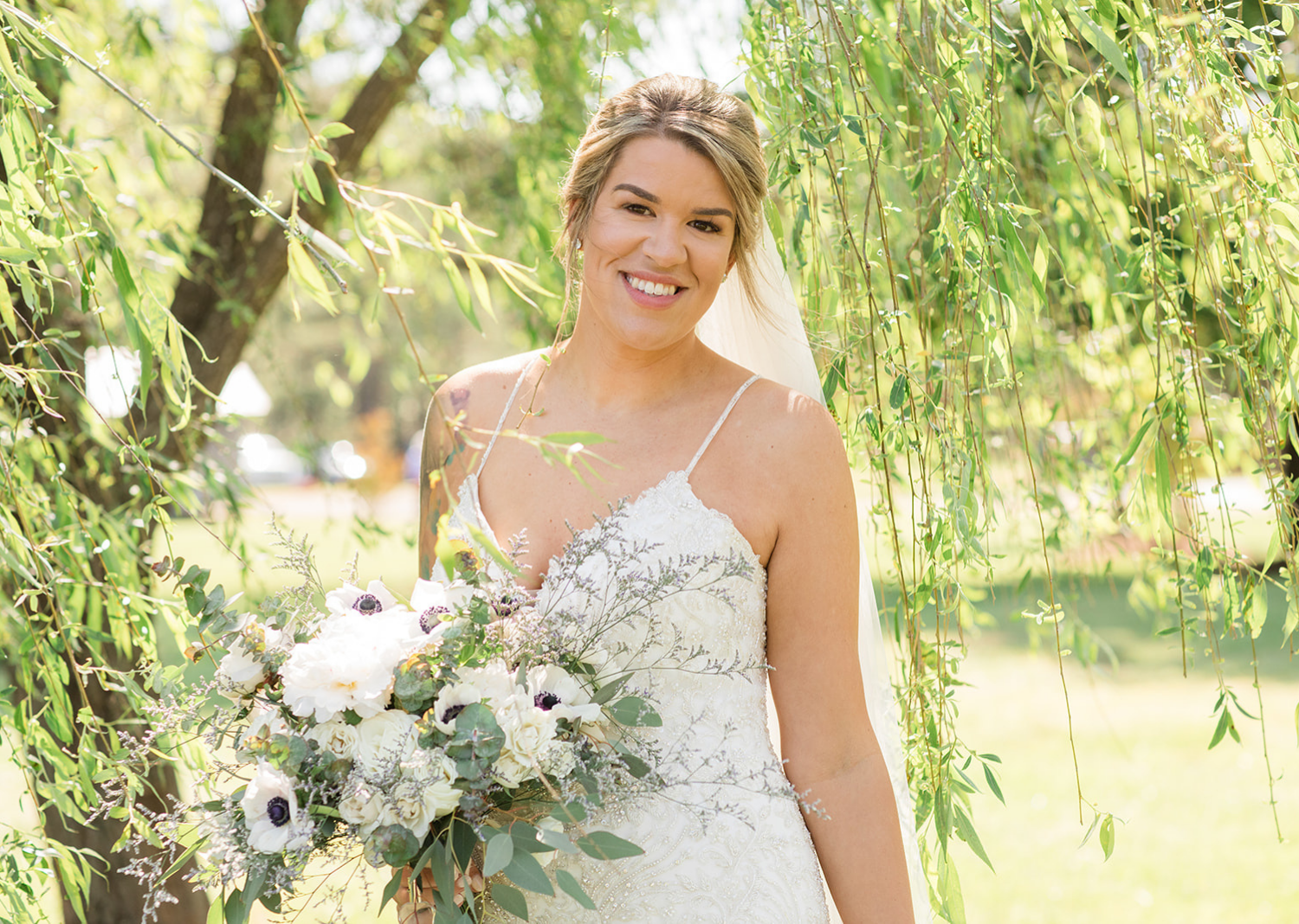 bride standing outside for outdoor portraits