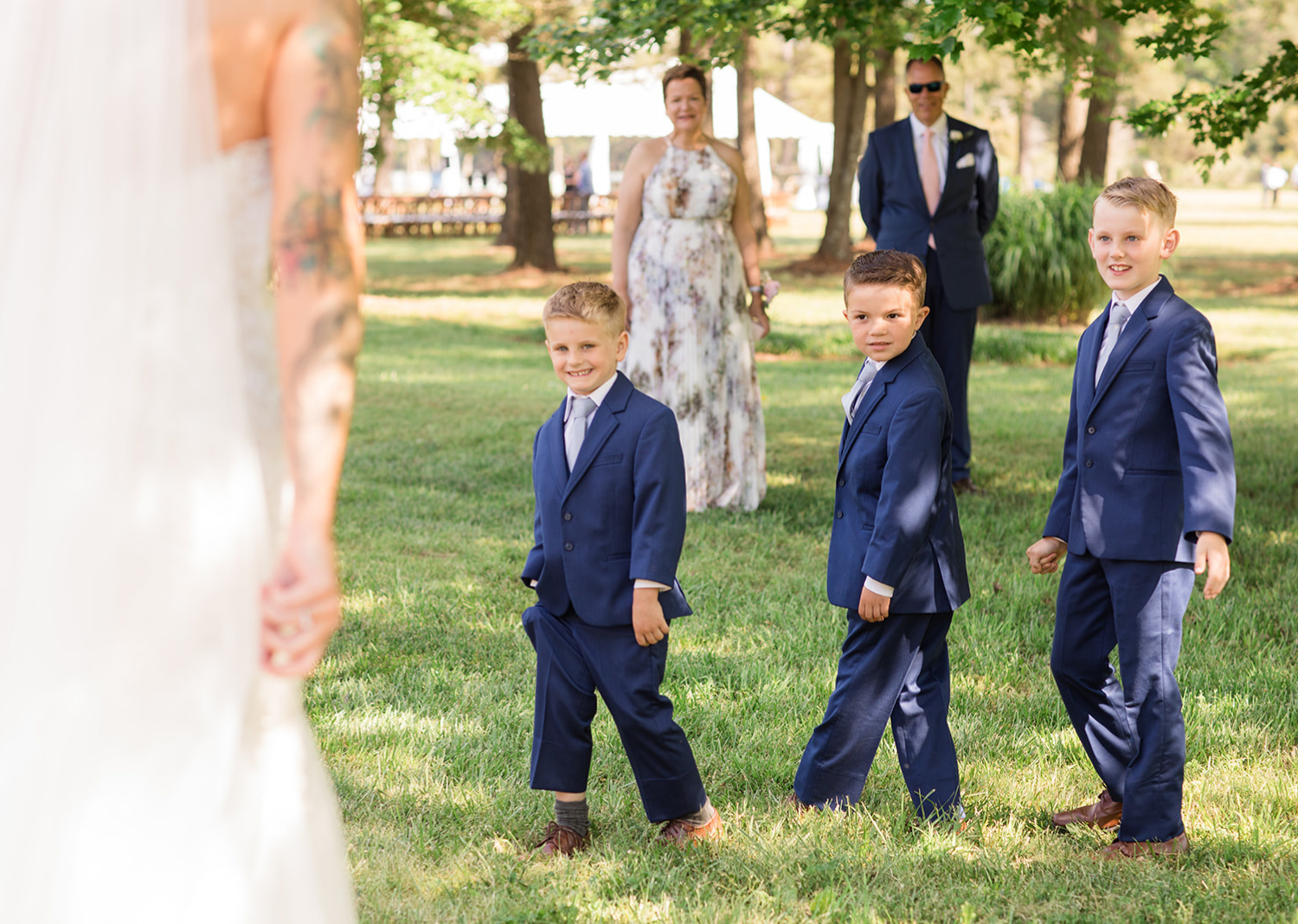 sons of the bride and groom with their wedding suits